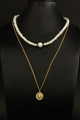 """Layered chain necklace with pearls """"Leonella"""""""