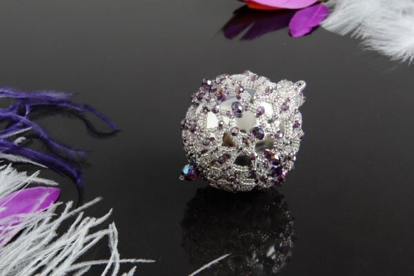 """Christmas tree toy """"Silver-violet ball"""""""