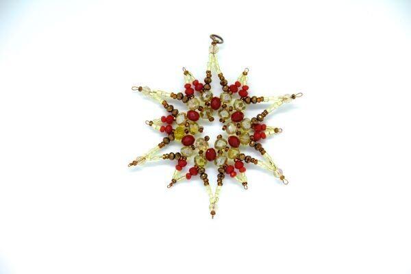 "Handmade Christmas tree toy ""Big golden snowflake"""
