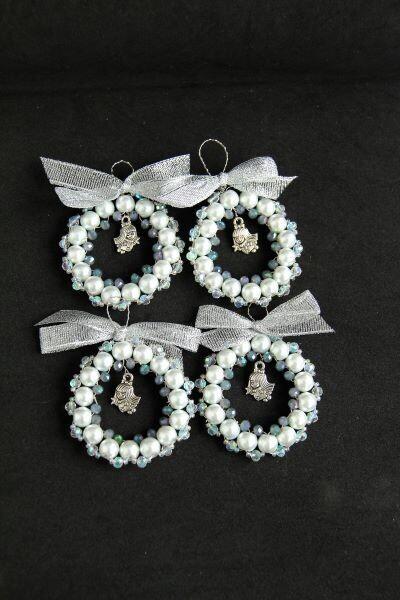 "Set of Christmas tree decorations ""White wreath"""