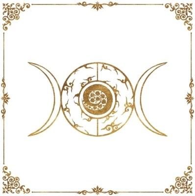 Lenormand / Tarot Tuch Dreier-Mond Logo 60x60 cm