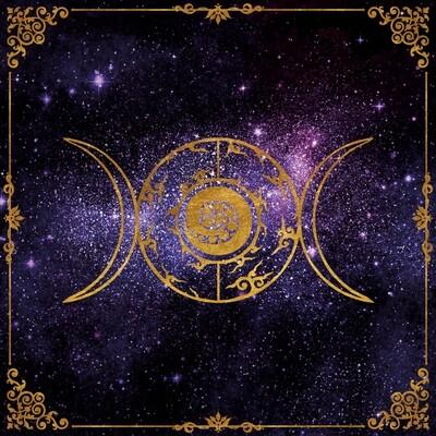 Lenormand / Tarot Tuch Dreier-Mond im Sternenhimmel Astro