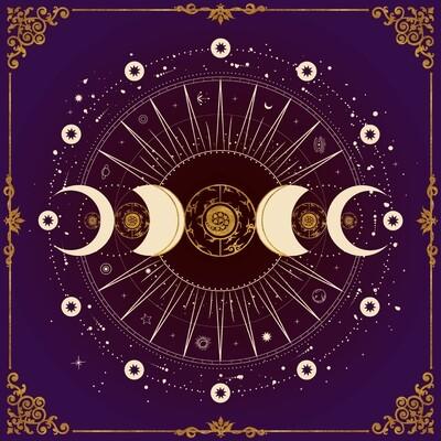 Lenormand / Tarot Tuch Mondphase Violett
