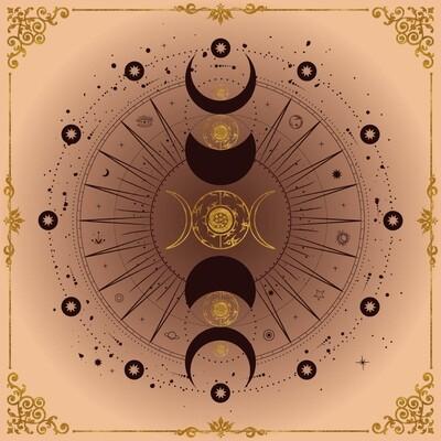 Lenormand / Tarot Tuch Mondphase Beige