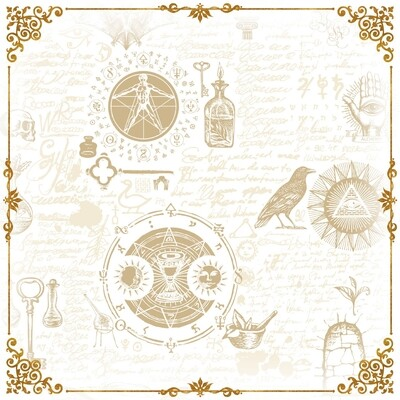 Lenormand / Tarot Tuch Magische-Symbole Weiss