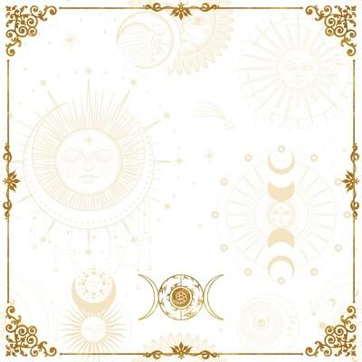 Lenormand / Tarot Tuch Sonne-Mond Symbole Weiss