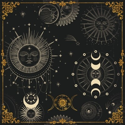 Lenormand / Tarot Tuch Sonne-Mond Symbole Schwarz