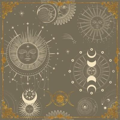 Lenormand / Tarot Tuch Sonne-Mond Symbole Anthrazit