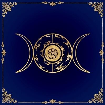 Lenormand / Tarot Tuch Dreier-Mond in diversen Farben
