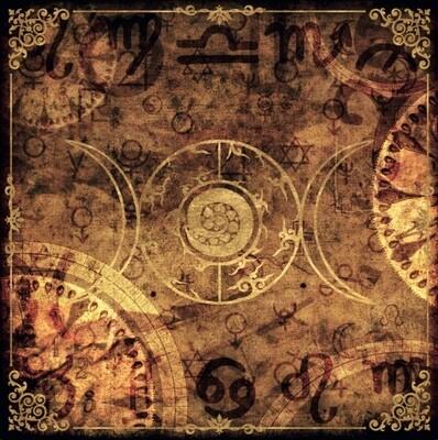 Lenormand / Tarot Tuch Mystic-Clock Sand-Gold