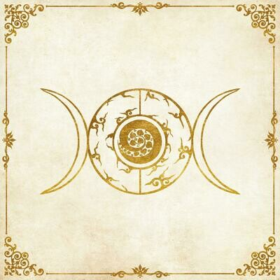 Lenormand / Tarot Tuch Dreier-Mond Logo 52x52 cm