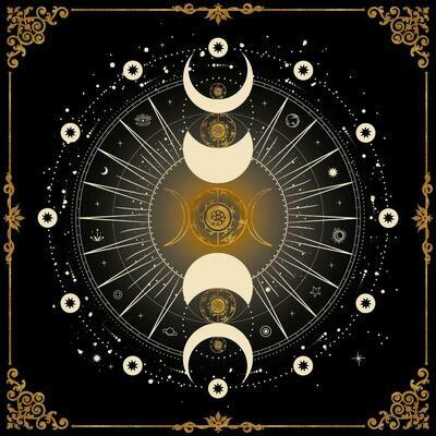 Lenormand / Tarot Tuch Mondphase Schwarz