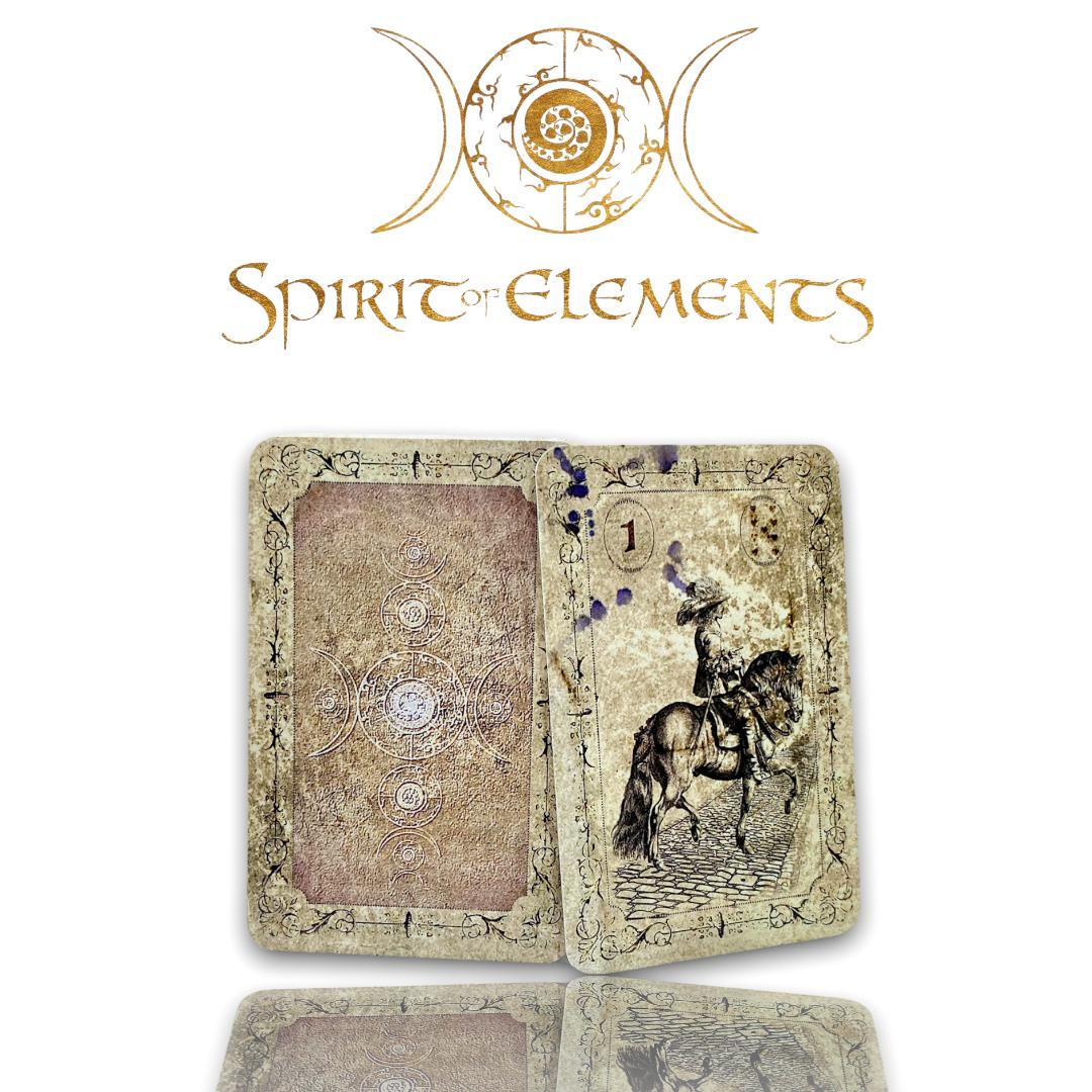 Spirit of Elements Lenormandkarten / Old Black Vintage mit Skatkarten