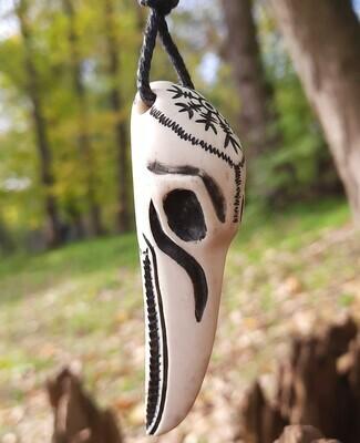 Handmade Viking Raven Skull Pendant, Hand-Carved, Moose Antlers