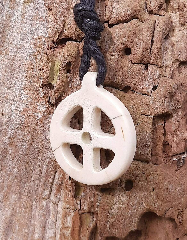 Viking Solar Necklace / Amulet, Hand-carved, Moose Antlers