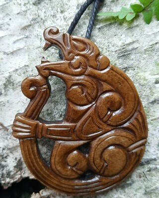 Borre Style Viking Berseker Protection Amulet, Antlers Hand-Carved