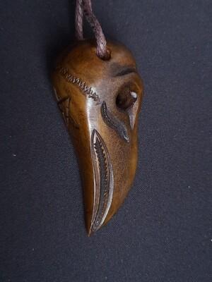 Odin Raven Skull Pendant, Hand-Carved, Moose Antlers