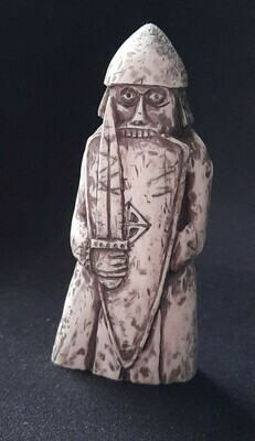 Lewis Chessmen Rook / Berserker, Hand-Carved, Moose Antlers