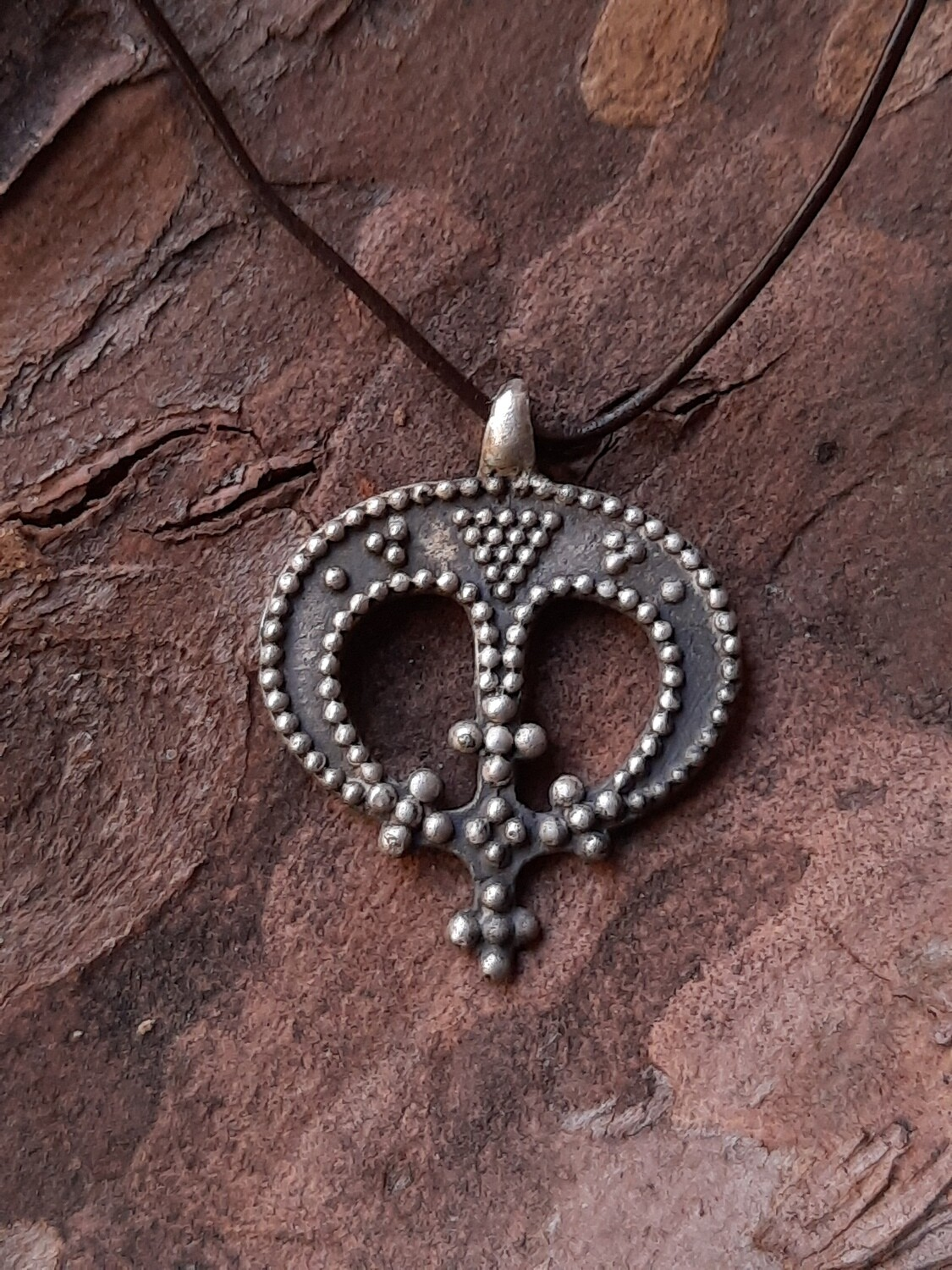 Handmade Viking Lady Lunar Protective Pendant With Cross, Silver, Hand-Forged