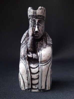 Lewis Chessmen, the Queen, Hand-Carved, Moose Antlers