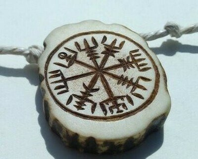 Viking Vegvisir Compass Pendant, Wayfinder, Antlers Hand-Carved