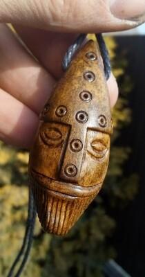 Handmade Viking Head Pendant, Hand Carved, Moose Antlers