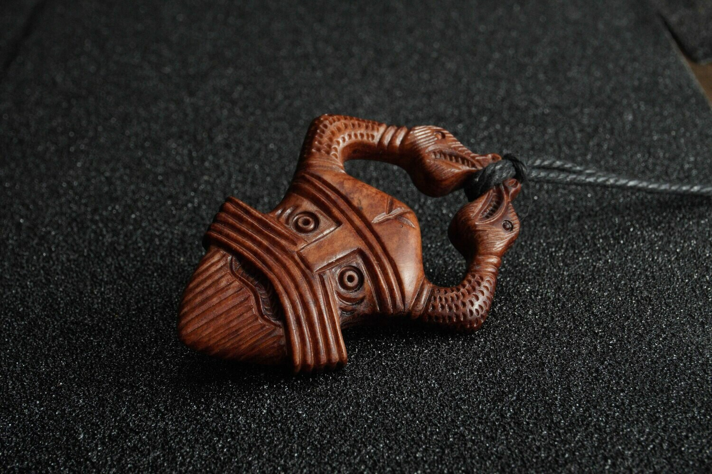 Handmade Viking Odin Pendant, Antlers Hand-Carved