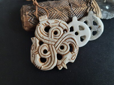 OFFER For 2 Pcs. Viking Solar Necklace With Odin Rune + Raven, Dragon & Wolf Pendant, Hand-Carved, Moose Antlers