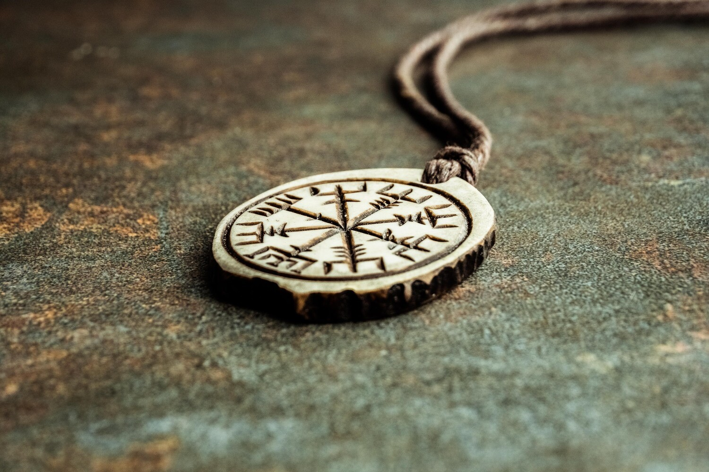 Vegvisir Compass Pendant, Wayfinder, Runic Pagan Compass, Antlers Hand-Carved