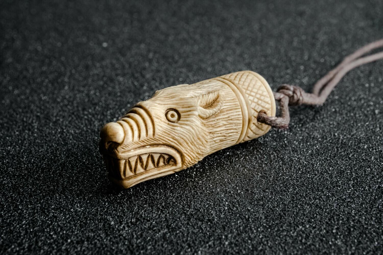 Viking Odin Wolf Warriors/Berserker Amulet, Hand-Carved, Antlers
