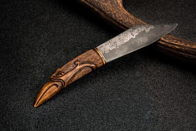 Viking Seax Dagger With Antlers Carved Handle (Damascus Steel Hand-forged Blade)