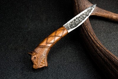 North / Yakut shape Knife with Dragon Pattern, Handforged, Antlers Carved Handle