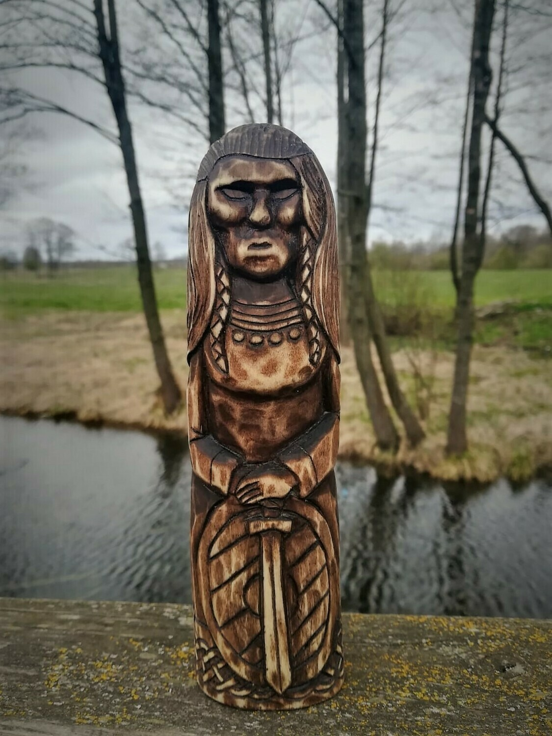 Old Norse Gods, Freya Statue, Wood Hand Carved