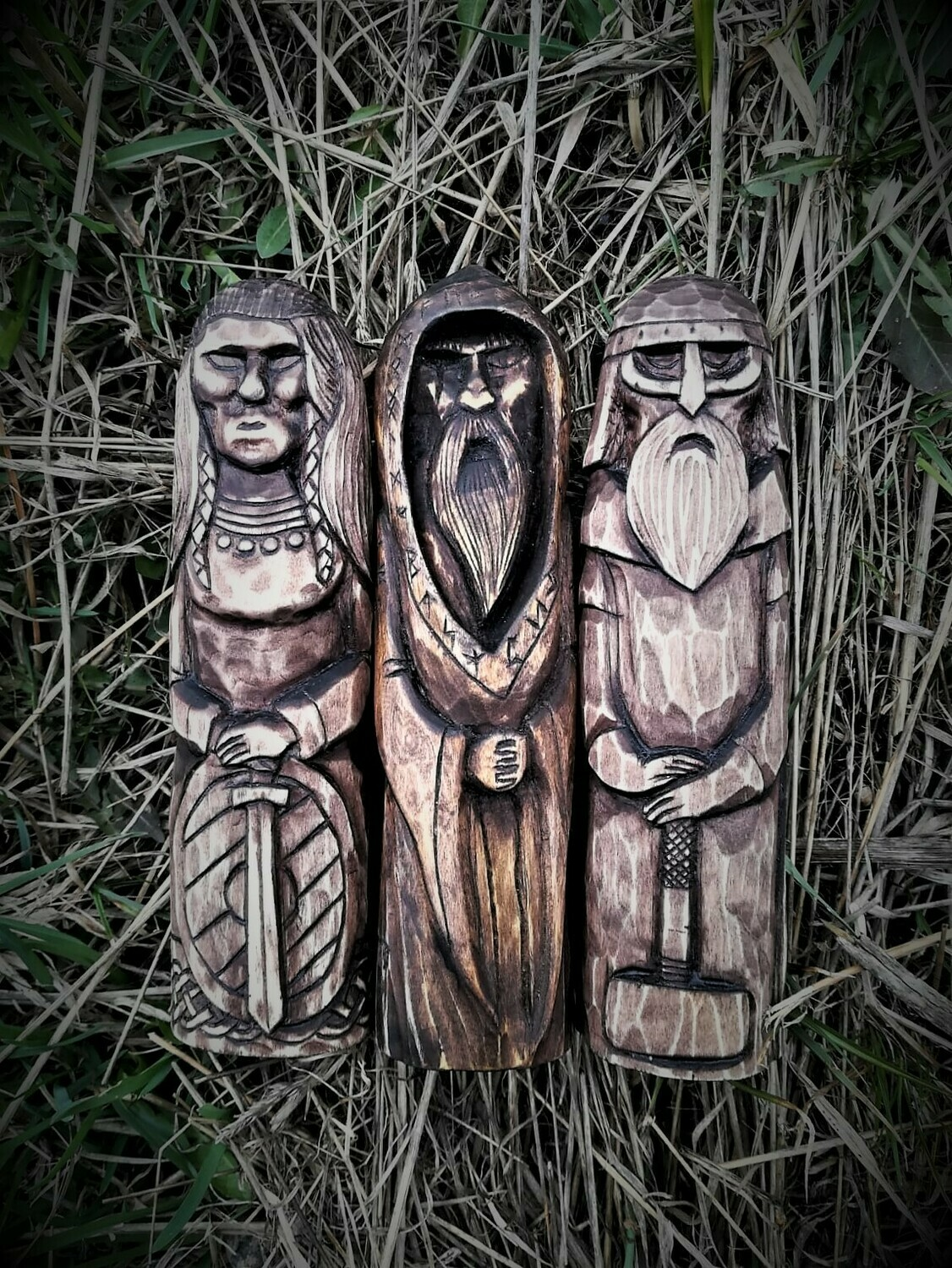Old Norse Gods Statues, Wood Hand Carved