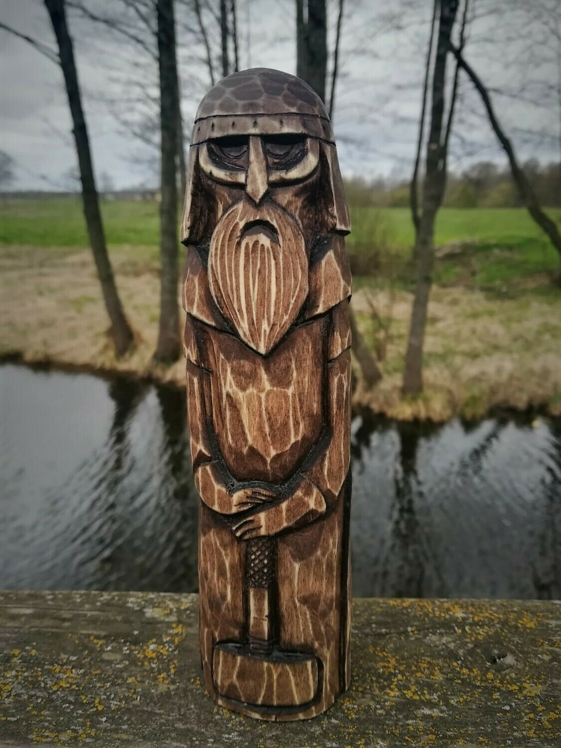 Old Norse Gods, Thor Statue, Wood Hand Carved