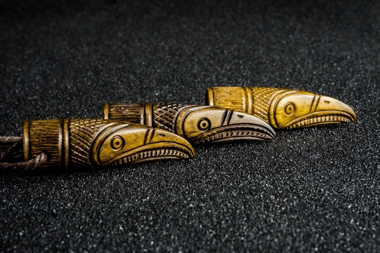 Raven Odin Amulet, Uppåkra, Talisman, Antler Hand-Carved