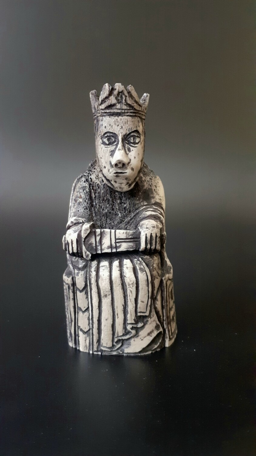 Lewis Chessmen, the King, Hand-Carved, Moose Antlers