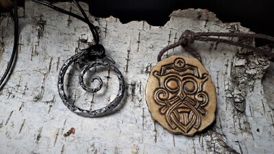 Handmade Viking Odin Amulet, Hand-Carved, Moose Antlers