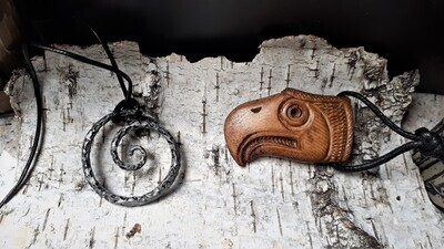 Handmade Falcon Pendant, Hand Carved, Moose Antlers
