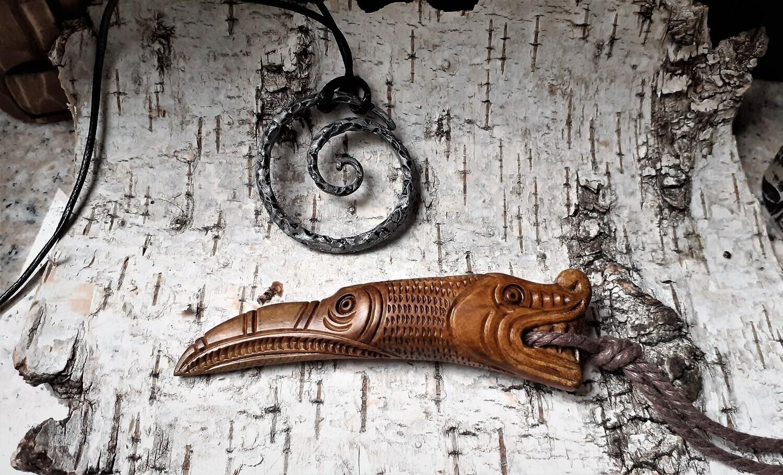 Massive Viking Pagan Amulet: Drekar / Odin Raven Amulet - Antlers Hand-Carved