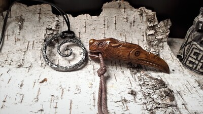 Norse Odin Raven and Wolf Pendant, Viking Amulet, Hand-Carved, Moose Antlers
