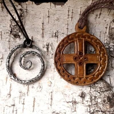 Handmade Viking / Celtic Cross, Solar Amulet, Antlers Hand-Carved