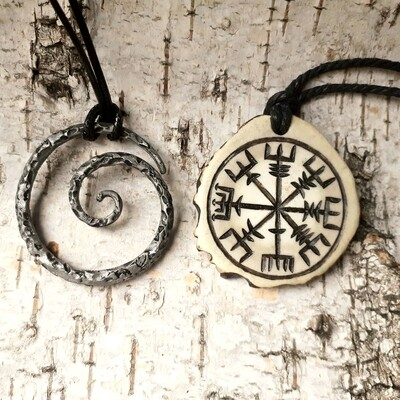 Vegvisir Compass Pendant With Tiwaz Rune, Wayfinder, Antlers Hand-Carved