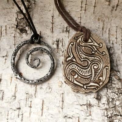 Viking Amulet of Runic Stone of Jörmungandr, Hand Carved, Moose Antlers
