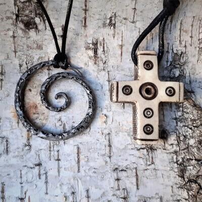 Celtic Cross With Solar Symbols, Antlers, Handmade