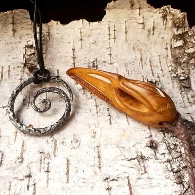Raven Skull Pendant With Tiwaz Rune, Handmade, Antlers