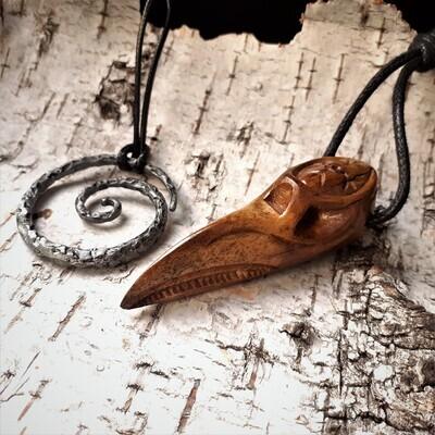 Raven Skull Pendant With Norse Motifs, Handmade, Antlers -- Celtic Spiral Pendant GIFT
