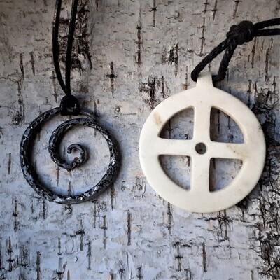 Solar Pagan Amulet, Sun Cross, Antler Hand Carved, Celtic Spiral Pendant GIFT