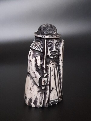 Lewis Chessmen, the Rook with Sword and Kite Shaped Shield, Moose Antler.