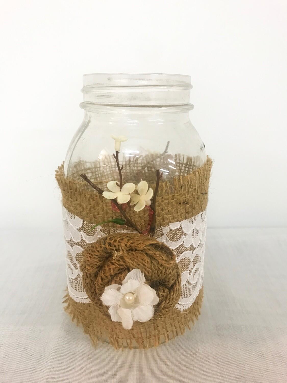 Mason Jar with Burlap - 32 oz - with Burlap Flower